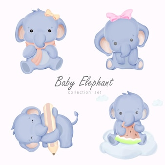 Babyolifant tekenset illustratie met aquarel illustratie