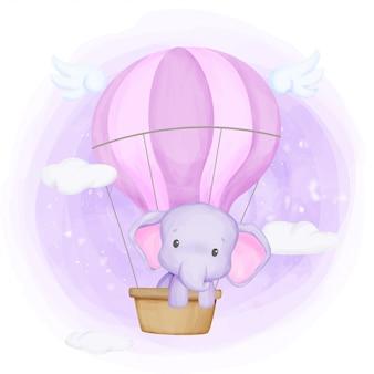 Babyolifant vliegen omhoog naar de hemel