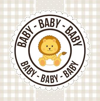 Babyontwerp over patroon, gelukkige verjaardagswenskaart