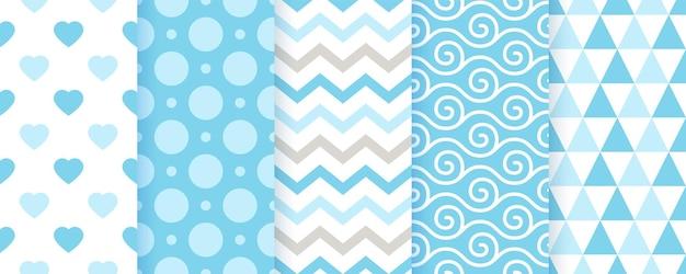 Babypatroon. babyjongen naadloze achtergronden. blauwe pastel textiel texturen. vector. geometrische print voor kinderen. set van schattig kinderachtig inpakpapier. plakboek achtergronden. moderne illustratie.