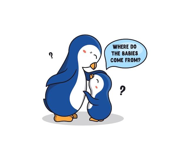 Babypinguïn die een vraag stelt aan zijn ouders