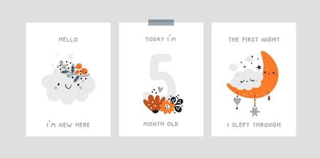 Babyshower-print met alle speciale momenten. baby mijlpaal kaart met schattige kleine wolk