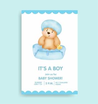 Babyshowerkaart met schattige beer