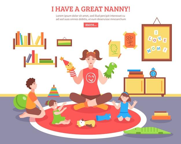 Babysitter concept illustratie