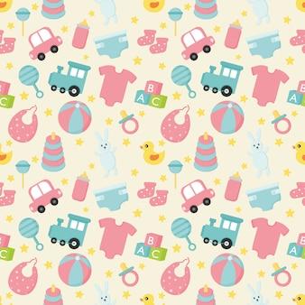 Babyspeelgoed en kleding naadloos patroon. pasgeboren illustratie.