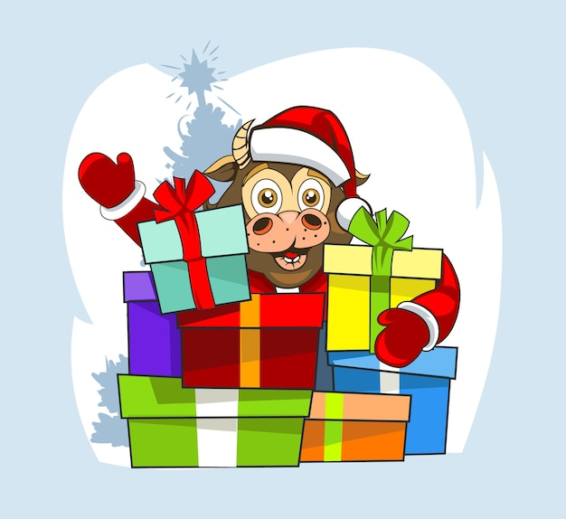 Babystier in kerstmankleren en veel cadeaus.