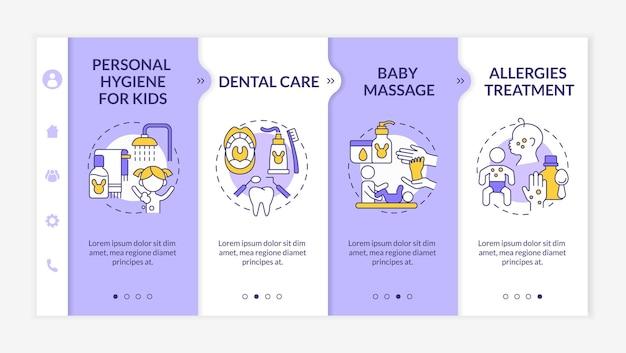 Babyverzorging paarse onboarding vector sjabloon. responsieve mobiele website met pictogrammen. webpagina walkthrough 4 stap schermen. kleurconcept voor lichamelijke gezondheid van kinderen met lineaire illustraties