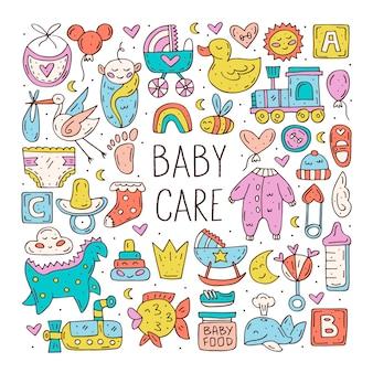 Babyverzorging schattige hand getrokken doodle