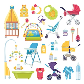 Babyverzorgingsobjecten, illustraties voor pasgeboren accessoires. leuk plakboek voor meisje met babyelementen. zuigfles, fopspeen, kleding, badje en verjaardagscadeau. babycollectie voor de geboorte van een kind.