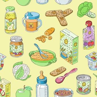 Babyvoeding kind gezonde voeding en groenten puree puree in pot illustratie set van vers sap met fruit appels voor kinderopvang