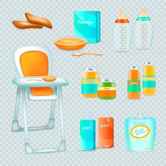 Babyvoeding realistische 3d transparante verzameling geïsoleerde essentiële elementen voor het voeden van baby met hoge stoel