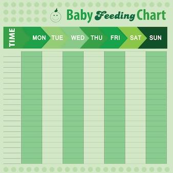Babyvoedingsschema - babygrafiek voor moeders - kleurrijke vectorillustratie