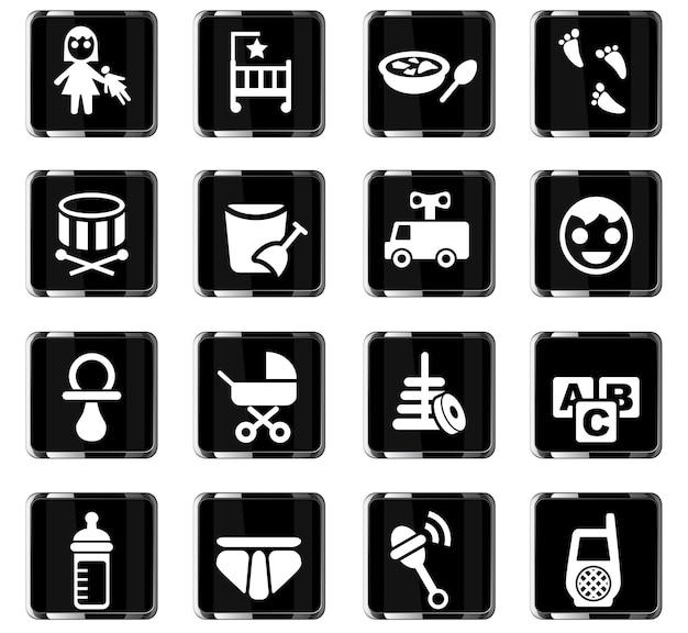 Babywebpictogrammen voor gebruikersinterfaceontwerp