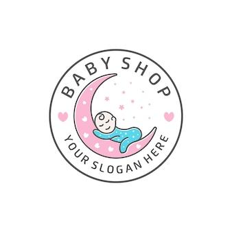 Babywinkel met maan hart baby ster embleem badge logo ontwerp