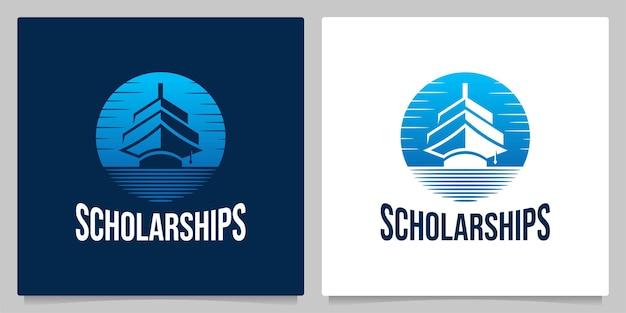 Bachelor hoed onderwijs schip nautisch vintage logo ontwerp