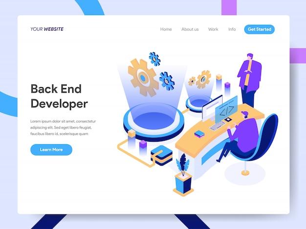 Back-end ontwikkelaar isometrische illustratie voor websitepagina
