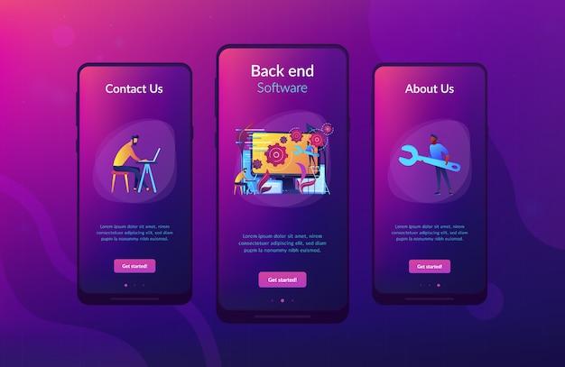 Back-end ontwikkeling it app interface sjabloon