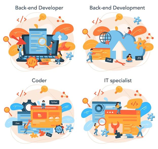 Back-end ontwikkelingsconcept set