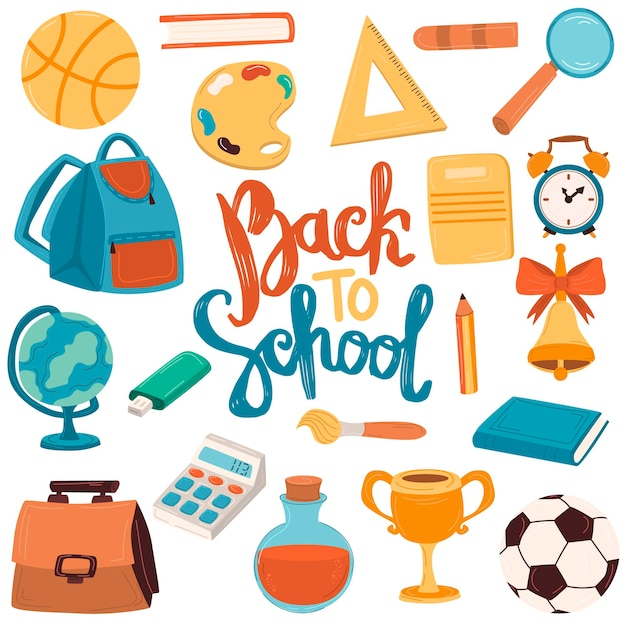 Back to school een grote schattige set met schoolspullen, een rugzak, schrijfgerei, boeken, een pen, een liniaal. belettering.