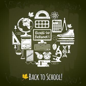 Back to school elementen achtergrond