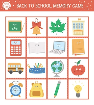 Back to school memory game kaarten met schattige kawaii schoolvoorwerpen. bijpassende activiteit met grappige lachende karakters. onthoud en vind de juiste afbeeldingskaart. eenvoudig herfst afdrukbaar werkblad voor kinderen.