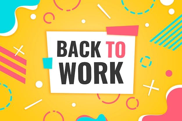 Back to work-letters op de achtergrond van memphis