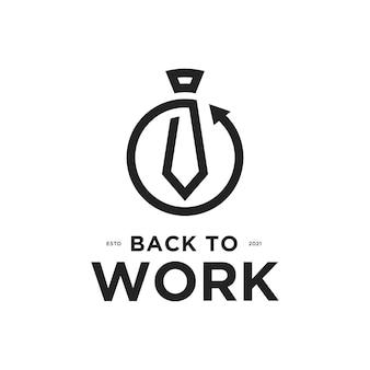Back to work-logo met ontwerpsjabloon voor stropdas en rugpictogram