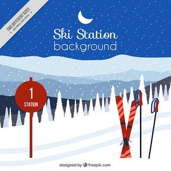 Backgroundo van ski-station met toebehoren