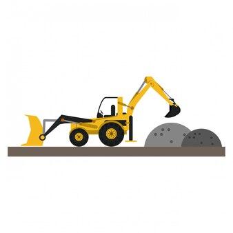 Backhoe en grind op bouwstreek