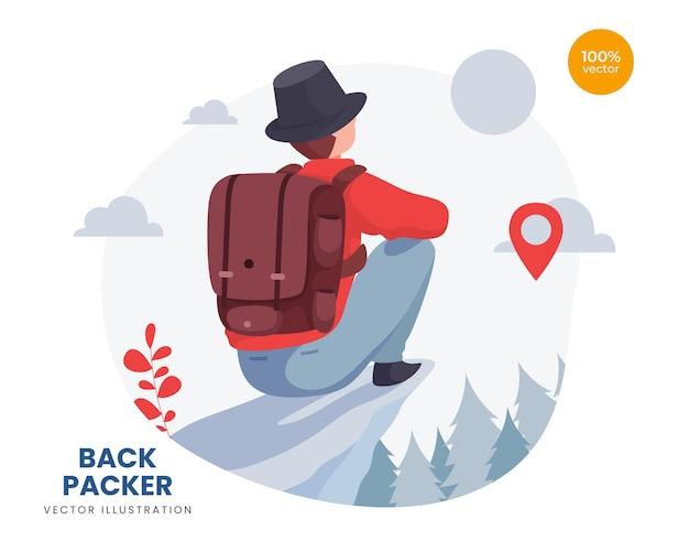 Backpacker concept illustratie idee, de man of de man ziet zonlicht op de top van de berg.