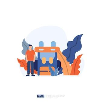 Backpacker en kampeervakantie illustratie zonder gezicht jonge man karakter. mannelijke mensen staan met gebaren. vlakke stijl geïsoleerde vectorillustratie