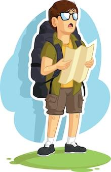 Backpacker jongen lezing routekaart