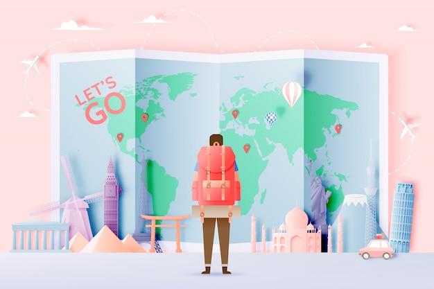 Backpacker met verschillende reisattracties