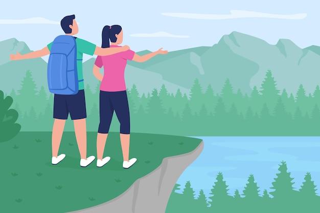 Backpackerpaar in plattelandsflat. vriend en vriendin staan op de piek. trekkers genieten van weergave 2d-cartoon