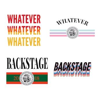 Backstage amour slogan moderne fashion slogan set