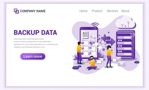 Backup data concept met karakters