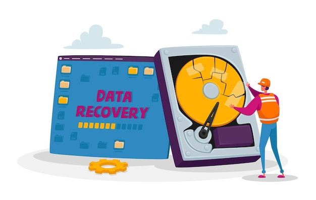 Backup, data recovery en protection service, hardware repair concept
