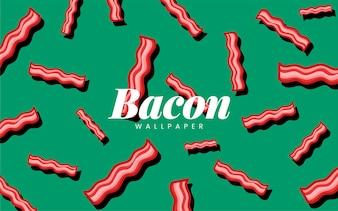 Bacon patroon eten behang illustratie