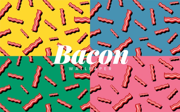 Bacon patroon eten behang illustratie