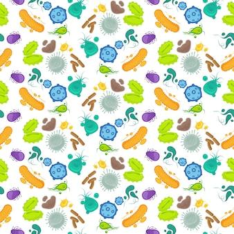 Bacteriën en virus naadloos patroon