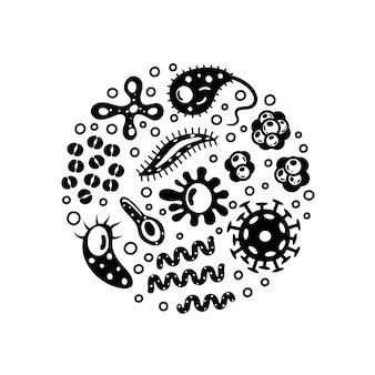 Bacteriën en virussen in een cirkel, micro-organismen infectie ziekteverwekkende objecten.