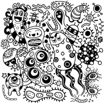 Bacteriën en ziektekiemen overzichtsset, micro-organismen ziekteverwekkende objecten, verschillende soorten, bacteriën, virussen. doodle stijl.