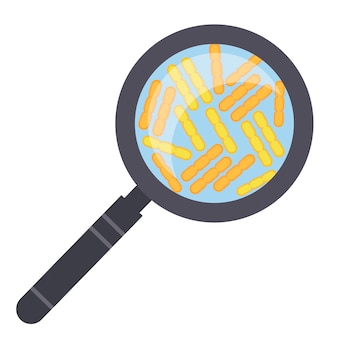 Bacteriën kunnen worden gezien door een vergrootglas. platte stijl. covid 19