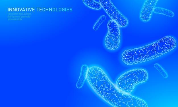 Bacteriën laag poly geven probiotica weer. gezonde normale verteringsflora van menselijke darmyoghurtproductie. moderne wetenschap technologie geneeskunde allergie immuniteit