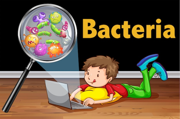 Bacteriën op computerlaptop