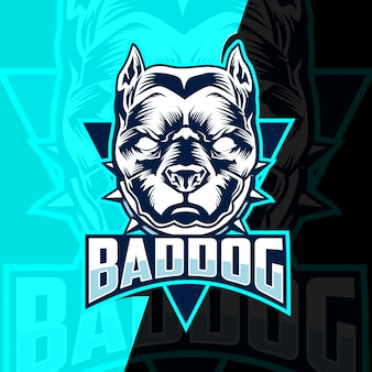 Bad dog mascotte esport logo ontwerp
