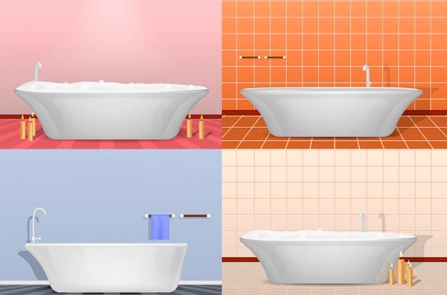 Bad douche interieur mockup set. realistische illustratie van 4 badkuip douche interieur mockups voor het web