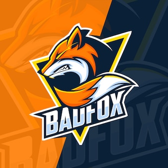 Bad fox mascotte esport logo ontwerp