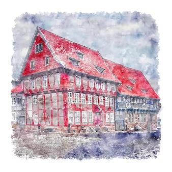 Bad gandersheim duitsland aquarel hand getekende illustratie Premium Vector