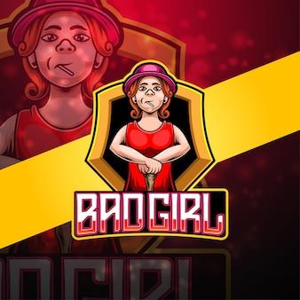Bad girl esport mascotte logo ontwerp